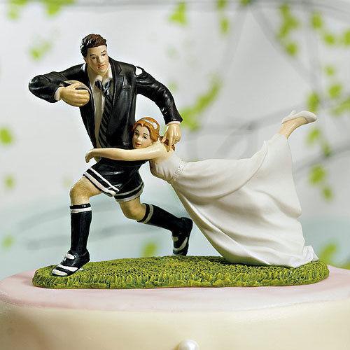 -A-Love-Match-RUGBY-pareja-del-pastel-de-bodas-lindo-fútbol-divertido-novio-de-la